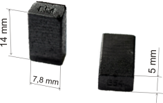 Графитовые щетки для дрелей Bosch моделей GSB, PSB, GBM размер:  5х7,8х14